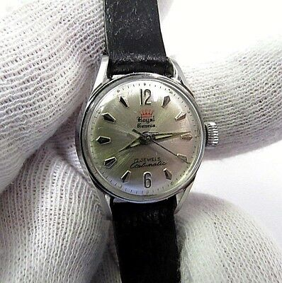 "ROYAL GENEVA,60's,17j Automatic,w/"" All Stainless Case ,Round LADIES WATCH,356"
