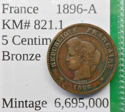 World Foreign Old France 1896-A Coin 5 Centimes KM# 821.1 !!