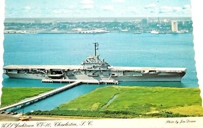 Postcard USS Yorktown CV-10 Charleston South Carolina Aircraft Carrier