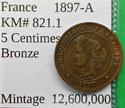 World Foreign Old France 1897-A Coin 5 Centimes KM# 821.1 !!