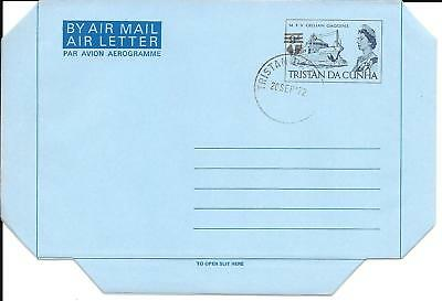 Tristan da Cunha 1972 Air Letter Black Overprint Used First Day