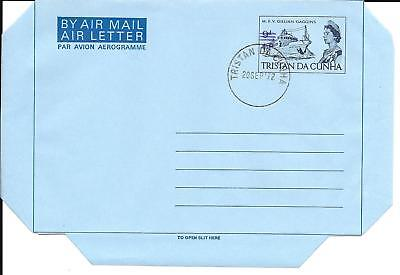 Tristan da Cunha 1972 Air Letter Purple Overprint Used First Day