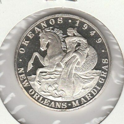 .999 Fine Silver 1968 Krewe Of Okeanos New Orleans Mardi Gras Doubloon