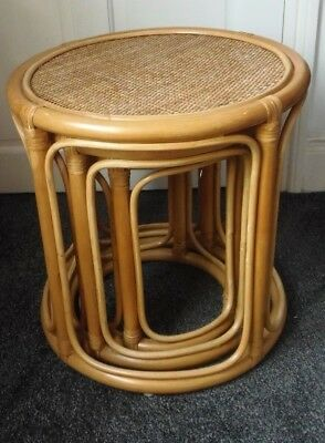 Set of 3 wicker & bamboo vintage retro round nesting tables