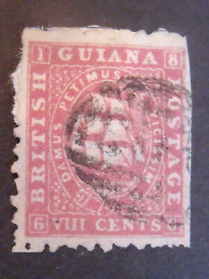 Very Early Guiana Ships on Thin Paper 8cents Red VFU