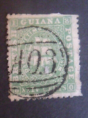 Very Early Guiana Ships Stamp  on Thin Paper 24c green VFU