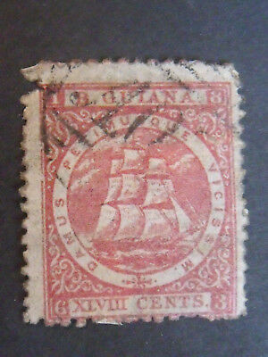 Very Early Guiana Ships Stamp  on Thin Paper 48cents Red FU