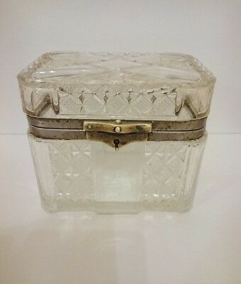 Antique Russian Imperial White Tea Glass Box  19th century.