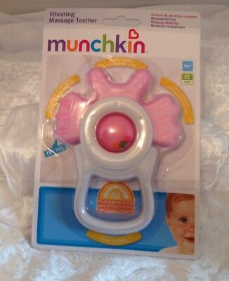 🌺new🌺 Munchkin Pink Vibrating Massage Teether From Birth 🌺🌺