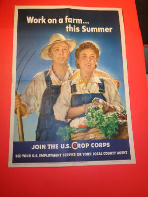 "Vintage Original 1943 WWII Poster Work on a Farm...This Summer (16 by 22"")"