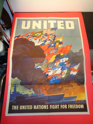 "Original 1943 WWII Poster "" UNITED - The United Nations Fight for Freedom"" RAGAN"