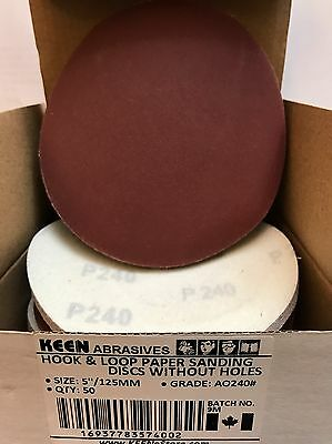 Box of 50- 240 GRIT 5 in. Hook & Loop SANDING DISCS KEEN ABRASIVES 74002