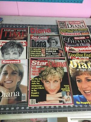 PRINCESS DIANA Magazine Collection 13 Issues - TIME, Newsweek, Star, Globe