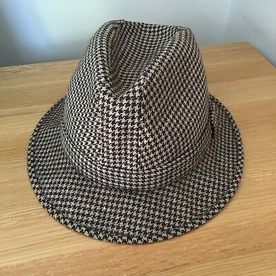 Vintage Dunn & Co Of Britain Dog Tooth Check Trilby Style Mens Hat