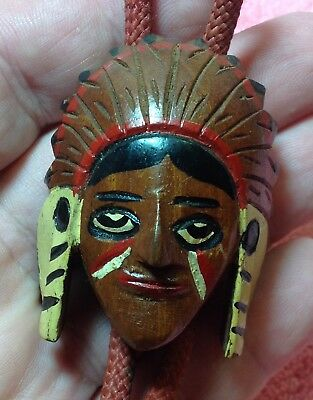 Beautiful Vintage, Carved Boyscout Bolo Slide! Indian Chief! Redwood! 1950's!