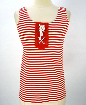 Vintage 70s Nautical Tank Top (M) Corset Tie Front Red/White Stripe Ribbed Knit