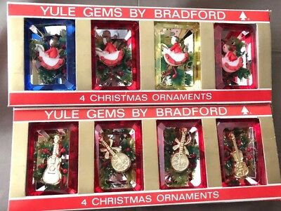 Christmas Ornaments Vtg Plastic Diorama 2 Boxes