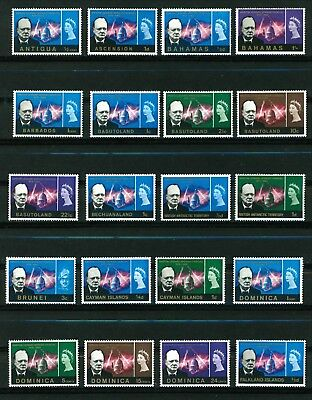 British Commonwealth 1966 Churchill stamps. 58 stamps mint all different.