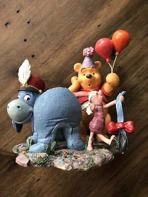 "Simply Pooh ""Wishing You Birthday Merriment and Such"" Figurine Eeyore Piglet"