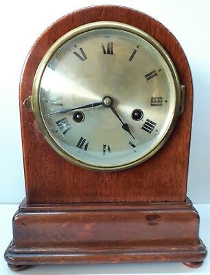 Antique French Lacquered Striking Mantle Clock, Good working order