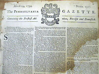 Original 1754 Pennsylvania Gazette BEN FRANKLIN newspaper FRENCH & INDIAN WAR