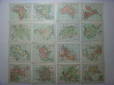 PART SET OF 16 x ANTIQUE VAN HOUTEN'S TRADE CARDS POCKET ATLAS SERIES MAPS