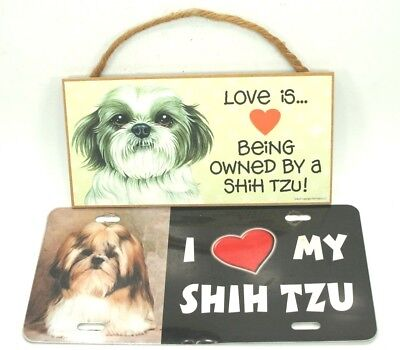 Adorable SHIH TZU Dog Lovers LICENSE PLATE and WOOD PLAQUE