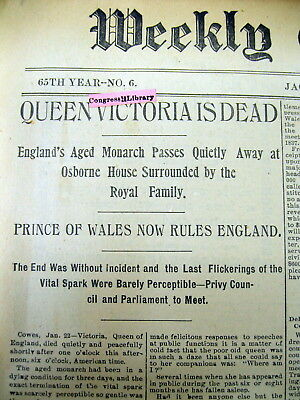 2 1901 newspapers DEATH of British monarch QUEEN VICTORIA after a 63 year reign