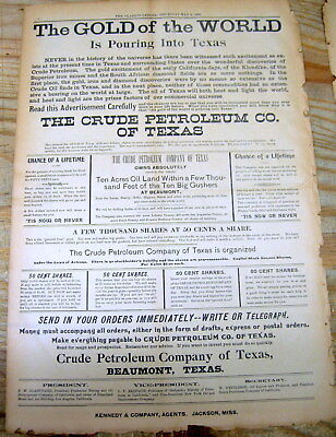 1901 newspaper w Large poster ad TEXAS OIL BOOM begins SPINDLETOP Beaumont TEXAS