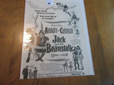 VINTAGE  ABBOTT & COSTELLO in JACK & THE BEANSTOCK magazine print ad 8 x 10 1/2