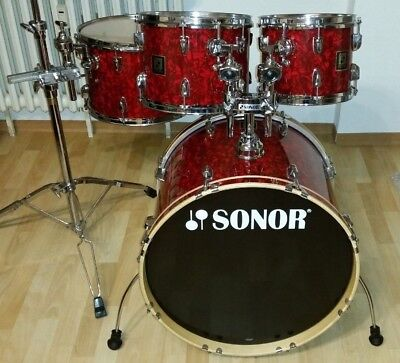 "Sonor Special Edition Red Pear  22"" 10"" 12"" 14"" Shell Set inkl. Tom Holder"