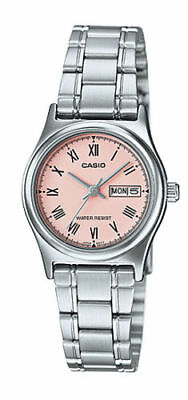 NEW Casio LTP-V006D-4B Women's Stainless Steel Watch Roman PINK Dial Day Date