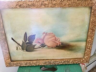 Antique oil on board painting of a rose signed and dated on back 1896 Thorburn?