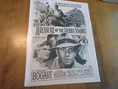 VINTAGE TREASURE OF THE SIERRA MADRE Bogart movie magazine print ad 8 x 10 1/2