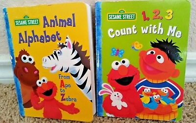 Sesame Street Animal Alphabet Count With Me Lot Of 2 Kids Board Books Elmo Ernie