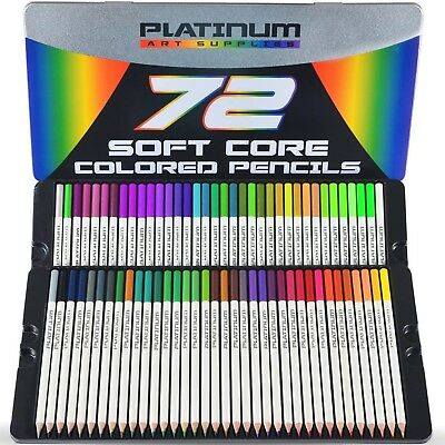 Platinum Soft Core Colored Pencils Artist Paint Drawing With Tin Case Pack of 72