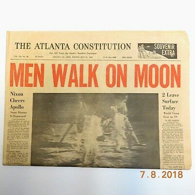 Men Walk On Moon Atlanta Constitution  July 21,1969 Complete Paper  EXCELLENT!