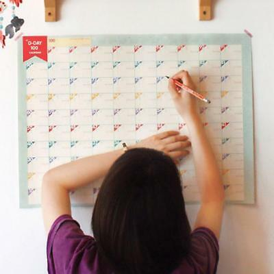 100 Day Countdown Calendar Learning Schedule Periodic Planner Table  Kid  s