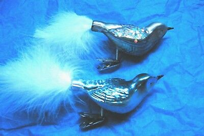 Clip-On Glass Bird Christmas Ornaments Silver & Blue Glitter Feather Vtg Style