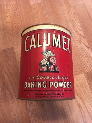 Vintag 10 Lb Calumet Baking Powder Tin Can Early Indian Graphic And Rare Size