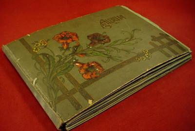Vintage Antique Victorian Post Card Greeting Card Album With Cards