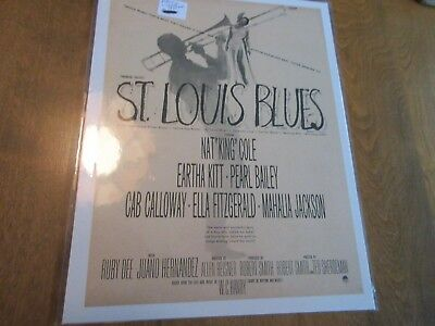 Vintage ST LOUIS BLUES Eartha Kite Bailey movie magazine print ad 8 x 10 1/2
