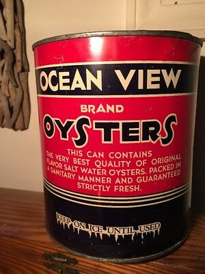 **ocean View Brand Oysters**norfolk,va Gallon Oyster Tin Can-Early Version-Clean