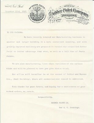 1890 Cleveland OH/New York NY Rubber Paint Co Letterhead N C Brewer GM/E Wight