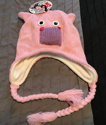 NWT Cozy Critters Hat Cap Knit One Size Fits Most PINK