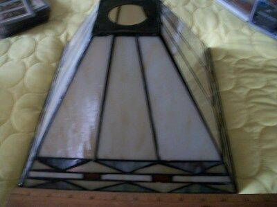 "Vintage Leaded Slag Glass Lamp Shade 10 1/2"" Square X 7 1/4"" High"