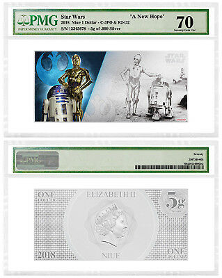 2018 Star Wars New Hope R2-D2/C-3PO Foil Note Silver PMG GEM UNC 70