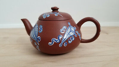 Antique Small Chinese Yixing Zisha Clay Teapot With Blue And White Glaze