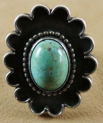 Unique Vintage Navajo Silver and Turquoise Ring