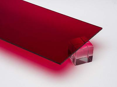 "1/4"" Translucent Dark Red Acrylic Plexiglas Sheet 8"" x 12"" Cast Acrylic AZM"